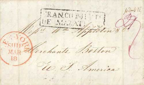 Figure 4-15. December 3, 1843 letter from Monterey sent via Mazatlan and New York on March 18.