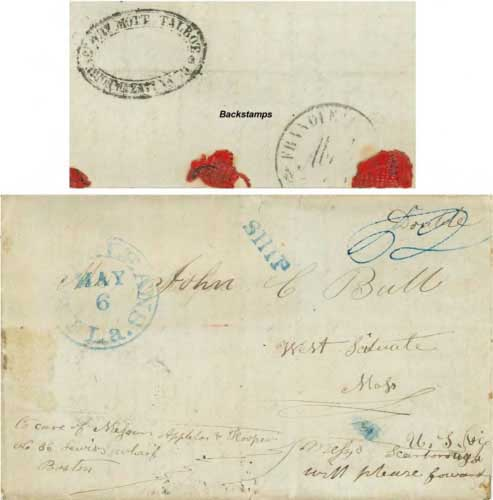 Figure 4-16. March 2, 1845 letter from San Diego sent via Mazatlan, Vera Cruz and New Orleans.