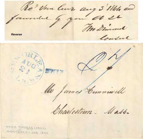 Figure 4-17. June 24, 1844 letter from Monterey sent via Mazatlan, Vera Cruz and New Orleans.