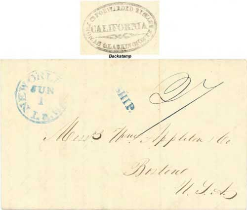Figure 4-18. January 20, 1845 letter from Monterey sent via Mexico and New Orleans.