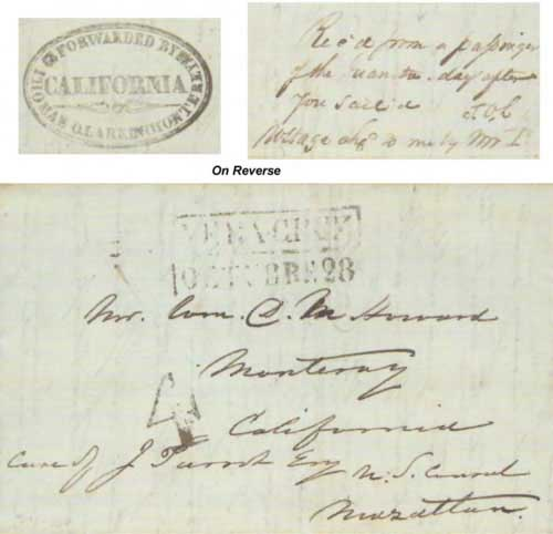 Figure 4-19. August 29, 1843 letter from Boston to Monterey via Mexico.