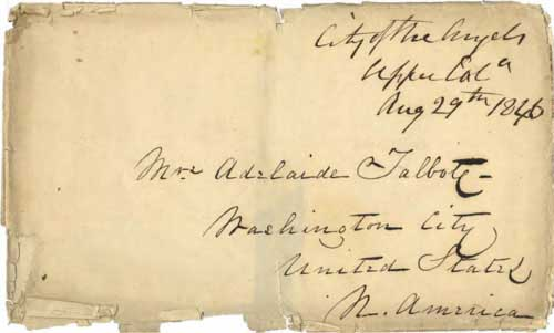 Figure 4-23. August 29, 1846 envelope for letter from Los Angeles carried by Kit Carson and Fitzpatrick to Washington, D.C. (Courtesy Smithsonian National Postal Museum)