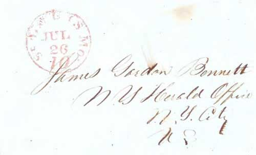 Figure 4-24. May 1, 1848 letter from Los Angeles carried by Kit Carson to St Louis. (Courtesy Eric Nelson)