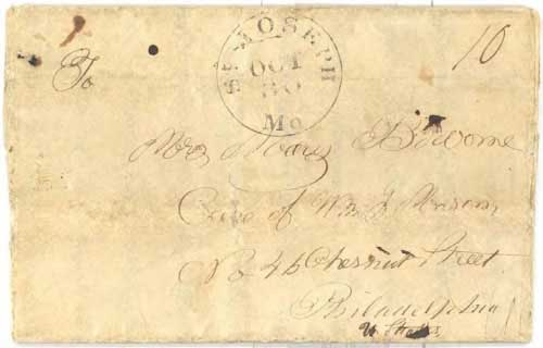 Figure 4-27. March 24 1847 letter from a sailor at San Diego carried by Commodore Stockton's party overland to St Joseph.