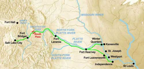 Figure 5-1. Map of the Platte River Road between Iowa/Missouri and Salt Lake City. The emigrant trails which evolved into mail routes are shown in green.