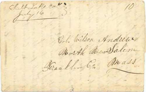 Figure 5-3. Letter datelined July 6, 1849 in Salt Lake City and carried by the Babbitt special contract mail to Kanesville, Iowa.