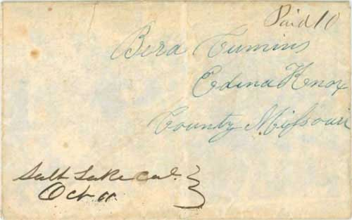 Figure 5-5. Letter datelined September 22, 1849 in Salt Lake City and carried by the Babbitt special contract mail to Kanesville, Iowa.