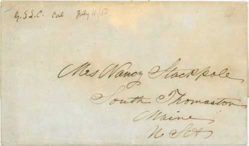Figure 5-6. Letter datelined July 20, 1849 at Fort Hall and posted in Salt Lake with July 11, 1850 postmark. It was carried by Babbitt special contract mail party via Kanesville, Iowa.