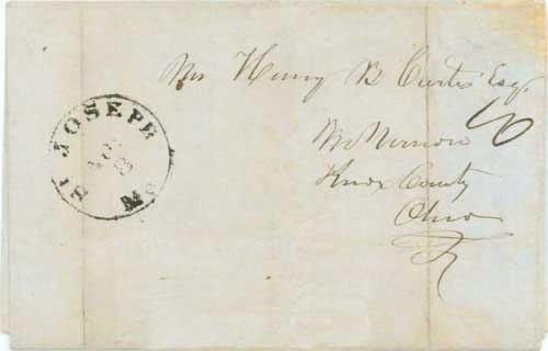 Figure 5-11. May 9, 1850 letter written at the Platte River Ferry and given to the captain of the ferry for transmission back East.