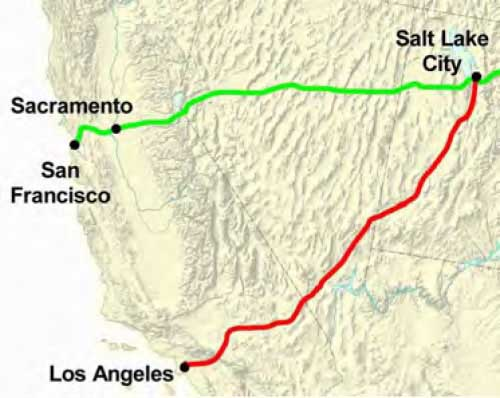 Figure 5-12. Map of the principal trails between California and Salt Lake City.