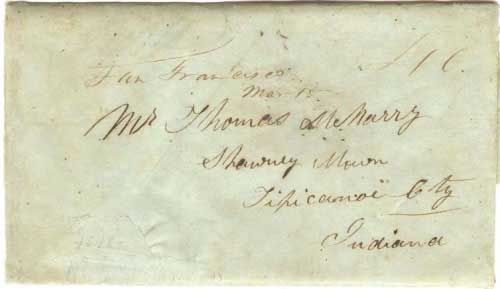 Figure 6-3. Letter postmarked at San Francisco on March 15, 1849 and carried by the PMSS chartered ship Callao to Panama and the non-contract steamship Crescent City to New Orleans.