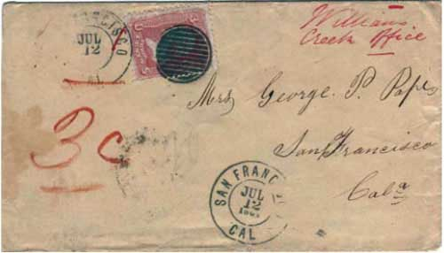 "Figure 1. Early June 1864 letter from Williams Creek, British Columbia, to San Francisco. Note the manuscript ""Williams Creek office."" BC postage stamps and marking devices weren't yet available at the Williams Creek office. Three cents US postage was paid in cash at Williams Creek; the U.S. stamp was applied at New Westminster. (Courtesy of the Fraser Thompson collection.)"