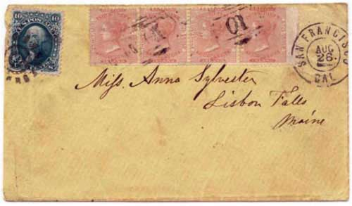 Figure 10. July 1867 letter from Williams Creek to Maine. On this cover four re-issued 2½d stamps (sold provisionally for 6¼¢ each) pay the 25¢ rate.