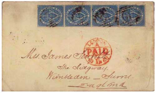 Figure 11. February 1868 letter from Williams Creek, BC to Wimbledon. Four BC 3d blue stamps prepay the new 25¢ treaty rate to England. Under terms of the U.S.- Great Britain postal treaty, effective 1 January 1868, no U.S. postage stamps were required on mail from British Columbia to England.