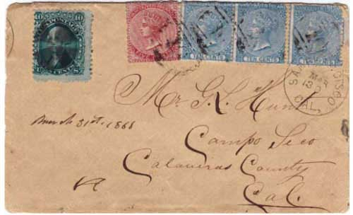 Figure 12. March 1868 letter from Williams Creek to California. The 35¢ in VI stamps is an unsuccessful attempt to use VI stamps to fully prepay the cover to its destination in California. (Courtesy of the Fraser Thompson collection.)