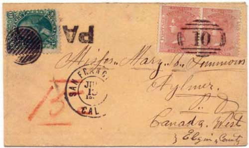 "Figure 2. June 1864 letter from Williams Creek to Aylmer, Canada. A pair BC&VI 2½d rose stamps is tied by the Williams Creek ""10"" marking. Williams Creek also marked the cover ""PAID."""