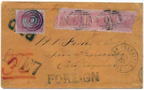 Figure 3. July 1864 letter from Williams Creek to San Francisco. By this time, Williams Creek was applying the proper internal postage, here paid by the strip of three 2½d stamps.