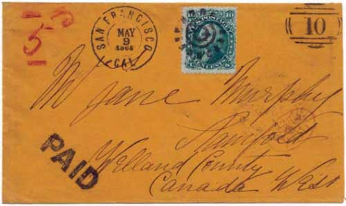 "Figure 4. April 1865 letter from Williams Creek to Stamford, Canada. During this period of no stamps, Williams Creek used its numeral ""10"" as a provisional frank."