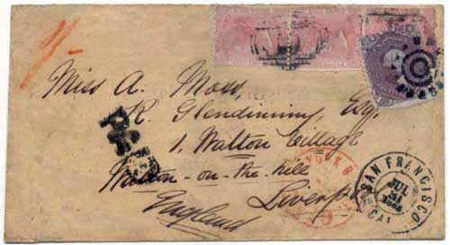 Figure 5. July 1865 letter from Williams Creek to Liverpool, England. By this time, Williams Creek had received a new supply of 2½d stamps.