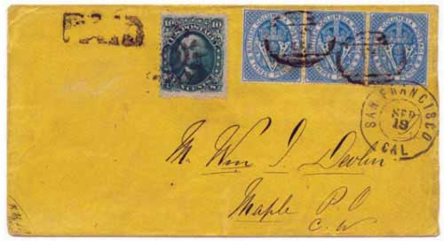 Figure 6. September 1866 letter from Williams Creek to Maple, Canada. New stamps had arrived, the BC 3d blues, used here in a strip of three.