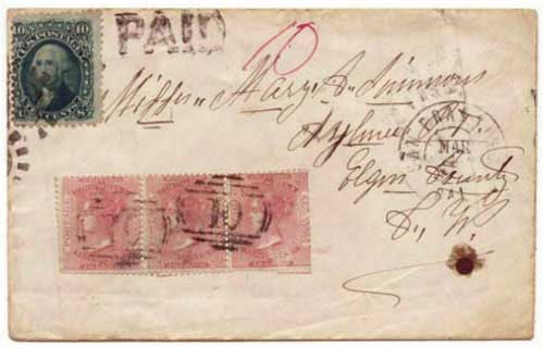 Figure 7. February 1867 letter from Williams Creek to Aylmer, Canada West. The reissued 2½d rose stamp was briefly used during a shortage of 3d stamps.