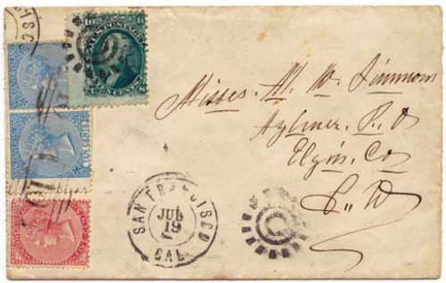 Figure 9. June 1867 letter from Williams Creek to Aylmer, Canada. The 25¢ rate is here prepaid by 5¢ and 10¢ VI stamps of 1865.