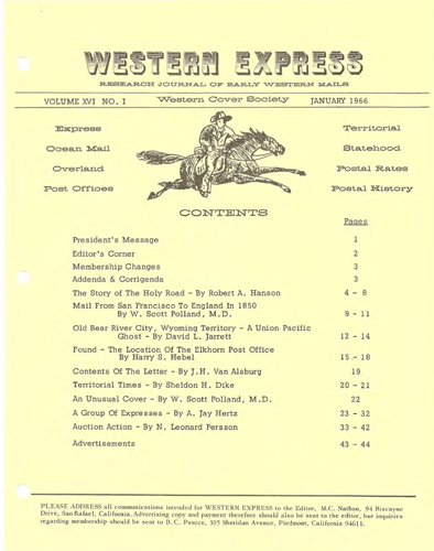 Western Cover Society's January 1966 Western Express