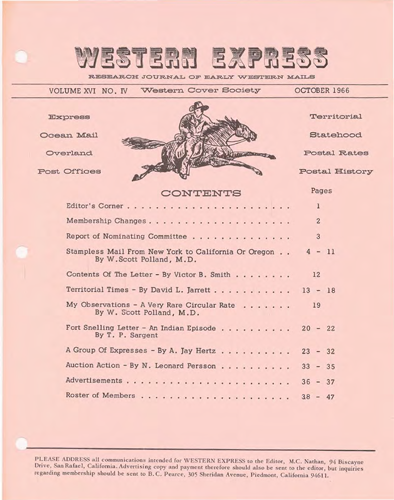 Western Cover Society's October 1966 Western Express