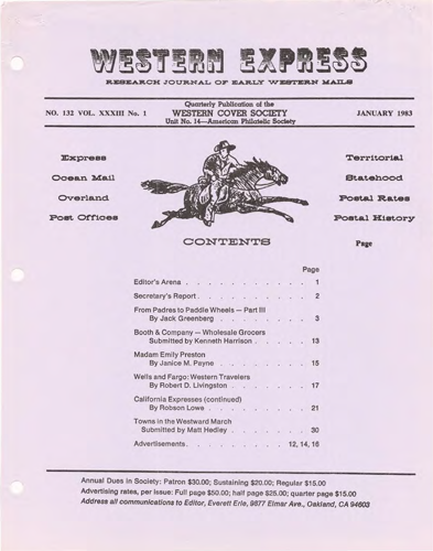 Western Cover Society's January 1983 Western Express