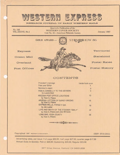 Western Cover Society's January 1987 Western Express