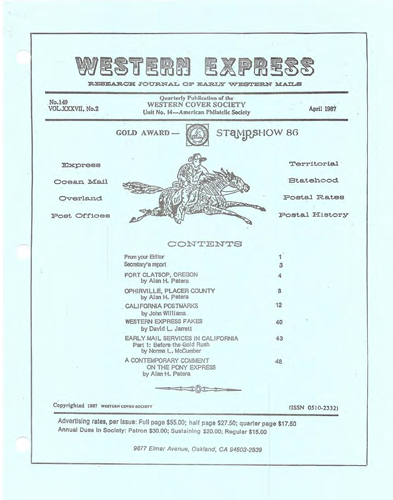 Western Cover Society's April 1987 Western Express