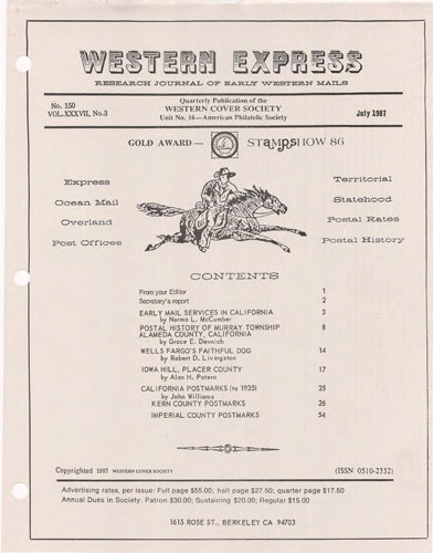 Western Cover Society's July 1987 Western Express