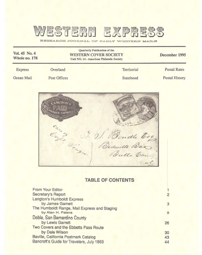 Western Cover Society's December 1995 Western Express