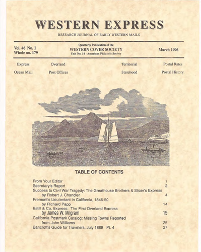 Western Cover Society's March 1996 Western Express