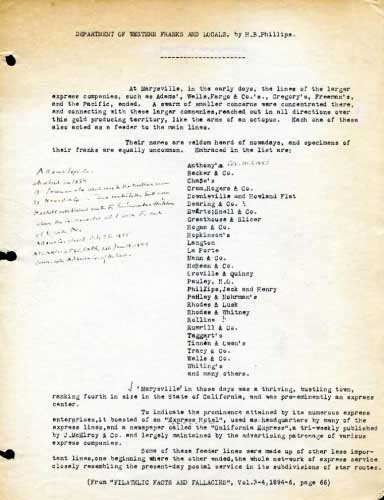 Filatelic Fact and Fallacies, Page 66, Typed Notes