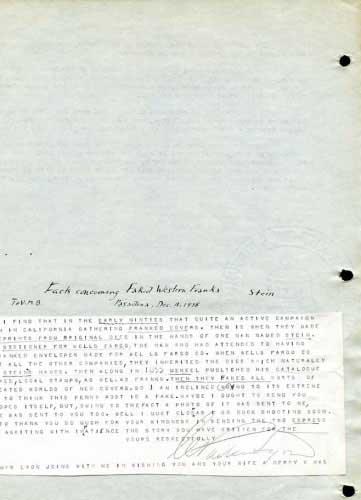 Parker Lyon to H. B. Phillips (Notes on Fake Franks, Dec, 1928)