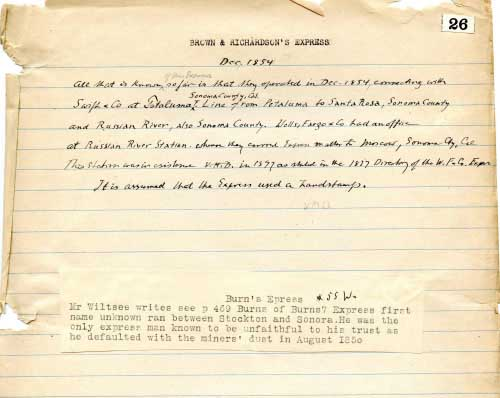 Brown & Richardson's Express, Notes On Express