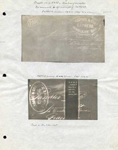 Adams Express, Oval Hand Stamps, Humboldt Bay, Martinez