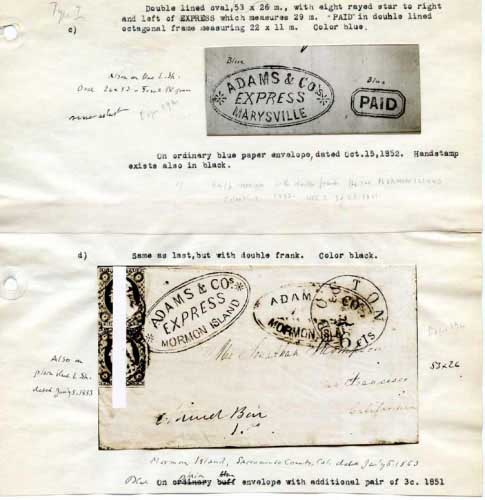 Adams Express, Oval Hand Stamps, Marysville, Mormon Island