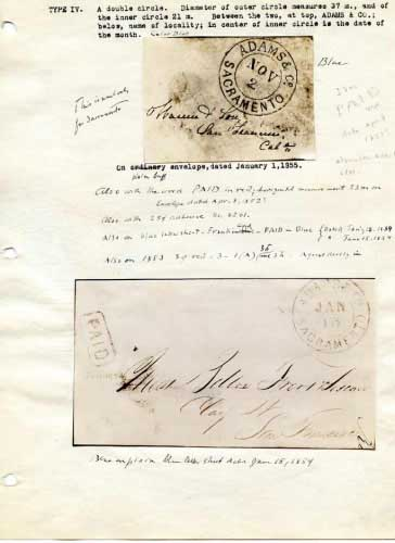 Adams Express, Oval Hand Stamps. Sacramento