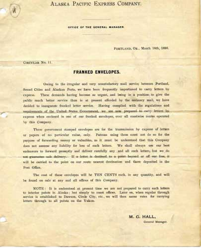 Alaska Pacific Express, Co Circular About Franks, March 18, 1898