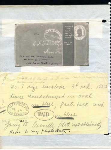Alta Express, Oval Hand Stamps, Sacramento, San Francisco