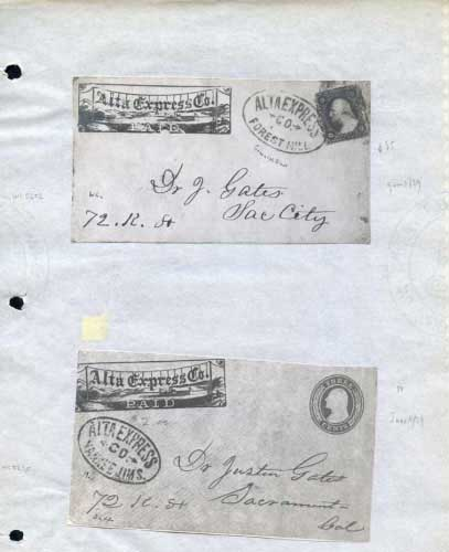 Alta Express, Franks With Hand Stamps, Forest Hill, Yankee Jims