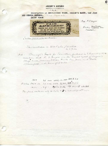 Angier's Express, Frank and Notes