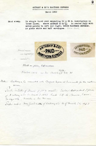 Anthony & Co., Notes and Oval Hand Stamp