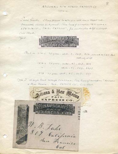 Arizona & New Mexico Express, Notes and Franks