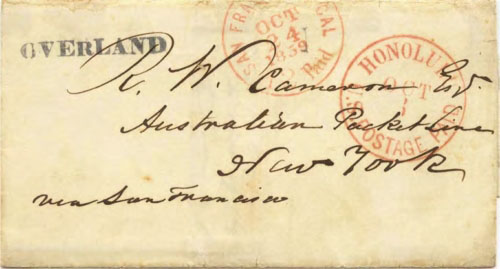 "Figure 9-12. Cover sent on October 3, 1859 from Honolulu via San Francisco to New York with a type 1 San Francisco ""OVERLAND"" handstamp."