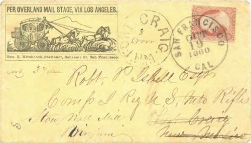 "Figure 9-15. Printed stagecoach envelope ""Per Overland Mail Stage, via Los Angeles"" sent from San Francisco to New Mexico on October 19, 1860."