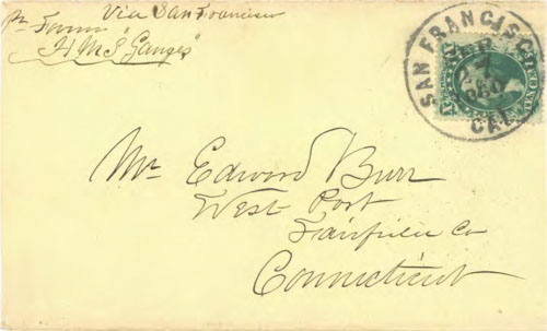 "Figure 9-17. Letter from the HMS Ganges endorsed ""via San Francisco"" and sent from San Francisco to Connecticut on September 27, 1860."