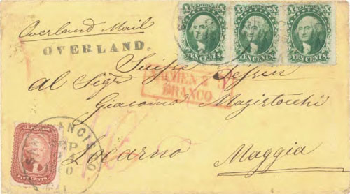 "Figure 9-18. Cover sent from San Francisco on September 24, 1860 to Locarno, Switzerland with a San Francisco type 2 ""OVERLAND"" handstamp."
